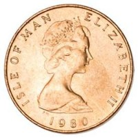 obverse of 1/2 Penny - Elizabeth II - 2'nd Portrait (1980 - 1983) coin with KM# 58 from Isle of Man. Inscription: ISLE OF MAN ELIZABETH II 1980
