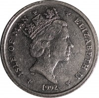obverse of 10 Pence - Elizabeth II - 3'rd Portrait (1992 - 1995) coin with KM# 337 from Isle of Man. Inscription: ISLE OF MAN ELIZABETH II 1992