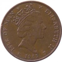 obverse of 1 Penny - Elizabeth II - 3'rd Portrait (1985 - 1987) coin with KM# 143 from Isle of Man. Inscription: ISLE OF MAN ELIZABETH II 1985