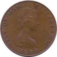 obverse of 1 Penny - Elizabeth II - 2'nd Portrait (1980 - 1983) coin with KM# 59 from Isle of Man. Inscription: ISLE OF MAN ELIZABETH II 1980