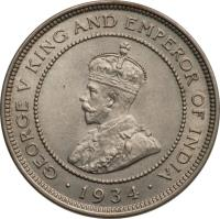 obverse of 1 Farthing - George V (1914 - 1934) coin with KM# 24 from Jamaica. Inscription: GEORGE V KING AND EMPEROR OF INDIA · 1916 ·