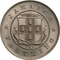 reverse of 1 Farthing - George V (1914 - 1934) coin with KM# 24 from Jamaica. Inscription: JAMAICA FARTHING