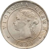 obverse of 1/2 Penny - Victoria (1869 - 1900) coin with KM# 16 from Jamaica. Inscription: VICTORIA QUEEN
