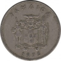 obverse of 20 Cents - Elizabeth II - FAO: Forestry (1976 - 1987) coin with KM# 69 from Jamaica. Inscription: JAMAICA OUT OF MANY, ONE PEOPLE 1976