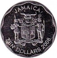 obverse of 10 Dollars - Elizabeth II - Round (2008 - 2015) coin with KM# 190 from Jamaica. Inscription: JAMAICA TEN DOLLARS 2008