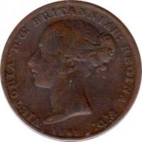 obverse of 1/26 Shilling - Victoria (1841 - 1861) coin with KM# 2 from Jersey. Inscription: VICTORIA D:G: BRITANNIAR: REGINA F:D: 1858