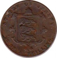 reverse of 1/26 Shilling - Victoria (1841 - 1861) coin with KM# 2 from Jersey. Inscription: STATES OF JERSEY. 1/26 OF A SHILLING.