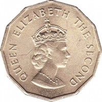 obverse of 1/4 Shilling - Elizabeth II - 1'st Portrait (1964) coin with KM# 25 from Jersey. Inscription: QUEEN ELIZABETH THE SECOND