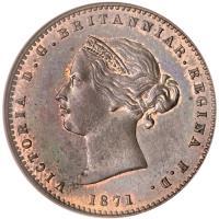 obverse of 1/26 Shilling - Victoria (1866 - 1871) coin with KM# 4 from Jersey. Inscription: VICTORIA D.G. BRITANNIAR.REGINA F.D. 1871