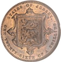 reverse of 1/26 Shilling - Victoria (1866 - 1871) coin with KM# 4 from Jersey. Inscription: STATES OF JERSEY. ONE TWENTY SIXTH OF A SHILLING.