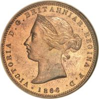 obverse of 1/13 Shilling - Victoria (1866 - 1871) coin with KM# 5 from Jersey. Inscription: VICTORIA D.G.BRITANNIAR.REGINA F.D. 1866