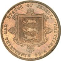 reverse of 1/13 Shilling - Victoria (1866 - 1871) coin with KM# 5 from Jersey. Inscription: STATES OF JERSEY. ONE THIRTEENTH OF A SHILLING.