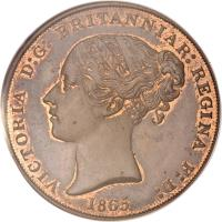 obverse of 1/13 Shilling - Victoria (1841 - 1865) coin with KM# 3 from Jersey. Inscription: VICTORIA D:G: BRITANNIAR: REGINA F:D: 1858
