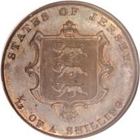 reverse of 1/13 Shilling - Victoria (1841 - 1865) coin with KM# 3 from Jersey. Inscription: STATES OF JERSEY. 1/13 OF A SHILLING.