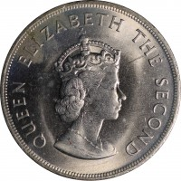 obverse of 5 Shillings - Elizabeth II - Battle of Hastings - 1'st Portrait (1966) coin with KM# 28 from Jersey. Inscription: QUEEN ELIZABETH THE SECOND
