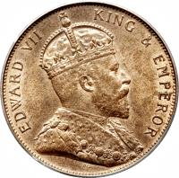 obverse of 1/12 Shilling - Edward VII (1909) coin with KM# 10 from Jersey. Inscription: EDWARD VII KING & EMPEROR