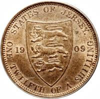 reverse of 1/12 Shilling - Edward VII (1909) coin with KM# 10 from Jersey. Inscription: STATES OF JERSEY. 19 09 ONE TWELFTH OF A SHILLING.