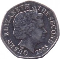 obverse of 20 Pence - Elizabeth II - 4'th Portrait (1998 - 2014) coin with KM# 107 from Jersey. Inscription: QUEEN ELIZABETH THE SECOND 2005 IRB