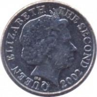 obverse of 5 Pence - Elizabeth II - 4'th Portrait (1998 - 2008) coin with KM# 105 from Jersey. Inscription: QUEEN ELIZABETH THE SECOND 2002 IRB