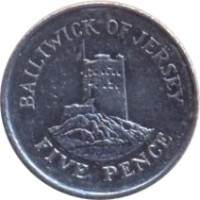 reverse of 5 Pence - Elizabeth II - 4'th Portrait (1998 - 2008) coin with KM# 105 from Jersey. Inscription: BAILIWICK OF JERSEY FIVE PENCE