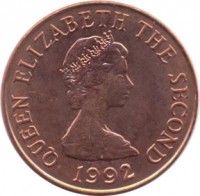 obverse of 2 Pence - Elizabeth II - 2'nd Portrait (1992 - 1997) coin with KM# 55b from Jersey. Inscription: QUEEN ELIZABETH THE SECOND 1992