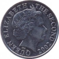 obverse of 10 Pence - Elizabeth II - 4'th Portrait (2002 - 2010) coin with KM# 106 from Jersey. Inscription: QUEEN ELIZABETH THE SECOND 2002 IRB