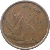 reverse of 20 Francs - Baudouin I - Dutch text (1980 - 1993) coin with KM# 160 from Belgium. Inscription: BELGIË 20F 1991