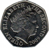 obverse of 50 Pence - Elizabeth II - 4'th Portrait (1998 - 2014) coin with KM# 108 from Jersey. Inscription: QUEEN ELIZABETH THE SECOND 2009 IRB