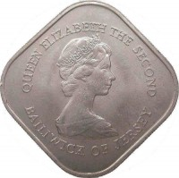obverse of 1 Pound - Elizabeth II - Battle of Jersey (1981) coin with KM# 51 from Jersey. Inscription: QUEEN ELIZABETH THE SECOND BAILIWICK OF JERSEY