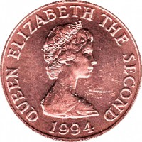 obverse of 1 Penny - Elizabeth II - 2'nd Portrait (1994 - 1997) coin with KM# 54b from Jersey. Inscription: QUEEN ELIZABETH THE SECOND 1994