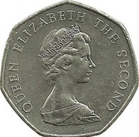 obverse of 50 New Pence - Elizabeth II - 2'nd Portrait (1969 - 1980) coin with KM# 34 from Jersey. Inscription: QUEEN ELIZABETH THE SECOND