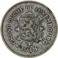 obverse of 5 Centimes - Charlotte (1918 - 1922) coin with KM# 30 from Luxembourg. Inscription: GRAND DUCHÉ DE LUXEMBOURG + 1918 +