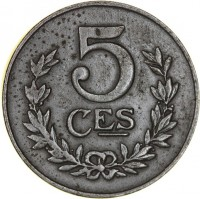 reverse of 5 Centimes - Charlotte (1918 - 1922) coin with KM# 30 from Luxembourg. Inscription: 5 CES