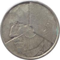 obverse of 5 Francs - Baudouin I - French text (1986 - 1993) coin with KM# 163 from Belgium. Inscription: J P L