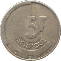 reverse of 5 Francs - Baudouin I - French text (1986 - 1993) coin with KM# 163 from Belgium. Inscription: 5F BELGIQUE 1990