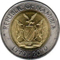 obverse of 10 Dollars - Bank of Namibia (2010) coin with KM# 21 from Namibia. Inscription: REPUBLIC OF NAMIBIA UNITY LIBERTY JUSTICE 1990 - 2010