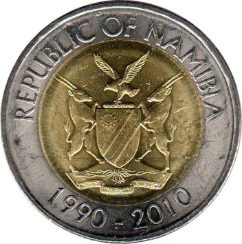 Münzen Republic Of Namibia 10 Dollars 2010-1990-2010 Münzen International