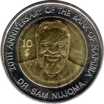 Republic Of Namibia 10 Dollars 2010-1990-2010 Afrika