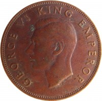 obverse of 1 Penny - George VI (1940 - 1947) coin with KM# 13 from New Zealand. Inscription: GEORGE VI KING EMPEROR