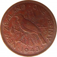 reverse of 1 Penny - George VI (1940 - 1947) coin with KM# 13 from New Zealand. Inscription: NEW ZEALAND - ONE PENNY · 1943 ·