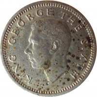 obverse of 3 Pence - George VI (1948 - 1952) coin with KM# 15 from New Zealand. Inscription: KING GEORGE THE SIXTH
