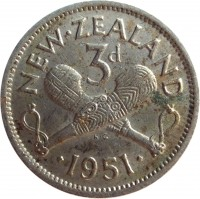 reverse of 3 Pence - George VI (1948 - 1952) coin with KM# 15 from New Zealand. Inscription: NEW · ZEALAND 3d · 1951 ·