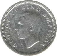 obverse of 3 Pence - George VI (1937 - 1946) coin with KM# 7 from New Zealand. Inscription: GEORGE VI KING EMPEROR