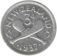 reverse of 3 Pence - George VI (1937 - 1946) coin with KM# 7 from New Zealand. Inscription: NEW ZEALAND 3d · 1946 ·
