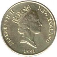 obverse of 2 Dollars - Elizabeth II - 3'rd Portrait (1990 - 1998) coin with KM# 79 from New Zealand. Inscription: ELIZABETH II NEW ZEALAND 1991