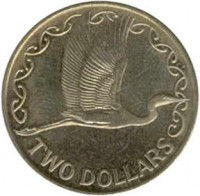 reverse of 2 Dollars - Elizabeth II - 3'rd Portrait (1990 - 1998) coin with KM# 79 from New Zealand. Inscription: TWO DOLLARS