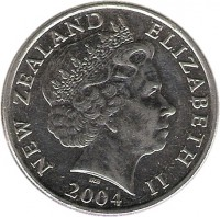 obverse of 20 Cents - Elizabeth II - 4'th Portrait (1999 - 2006) coin with KM# 118 from New Zealand. Inscription: NEW ZEALAND ELIZABETH II IRB 2004