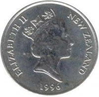 obverse of 10 Cents - Elizabeth II - 3'rd Portrait (1986 - 1998) coin with KM# 61 from New Zealand. Inscription: ELIZABETH II NEW ZEALAND 1988