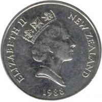 obverse of 50 Cents - Elizabeth II - 3'rd Portrait (1986 - 1998) coin with KM# 63 from New Zealand. Inscription: ELIZABETH II NEW ZEALAND 1988