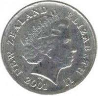 obverse of 5 Cents - Elizabeth II - 4'th Portrait (1999 - 2006) coin with KM# 116 from New Zealand. Inscription: NEW ZELAND ELIZABETH II 2003